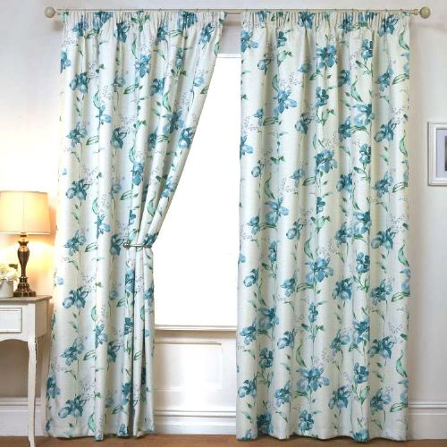 BLUE COLOUR READYMADE THERMAL BLACKOUT PENCIL PLEAT TAPE TOP FLORAL DESIGN CURTAINS